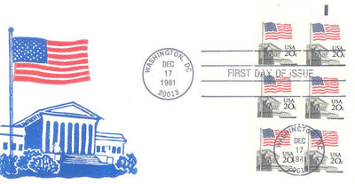 US 1896a FDC - Buck Cachet - Flag/Supreme Court - Booklet Pane