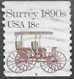 US 1907 Used - PNC Single - Plate 6 - Transportation Series - Surrey 1890s