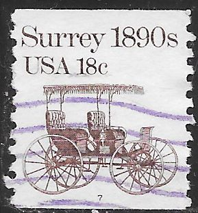US 1907 Used - PNC Single - Plate 7 - Transportation Series - Surrey 1890s
