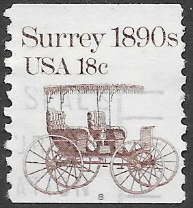 US 1907 Used - PNC Single - Plate 8 - Transportation Series - Surrey 1890s