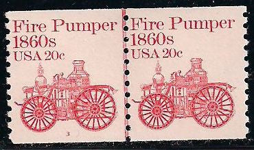 US 1908 MNH - Line Pair - Plate 3 - Fire Pumper