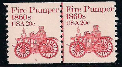 US 1908 MNH - Line Pair - Plate 4 - Fire Pumper