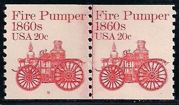 US 1908 MNH - Line Pair - Plate 9 - Fire Pumper