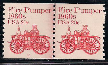 US 1908 MNH - Line Pair - Plate 10 - Fire Pumper