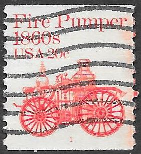 US 1908 Used - Plate 1 - Transportation Series - Fire Pumper 1860s