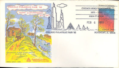 US Event Cover 2031 - Doris Gold - Chicago Sesquicentennial - Chicago Philatelic Fair
