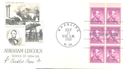US 1036a FDC - ArtCraft - Abraham Lincoln Booklet Pane