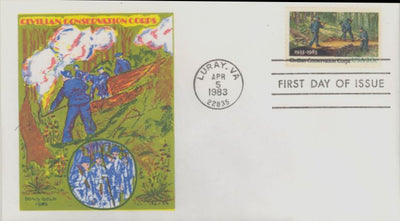 US 2037 FDC - Doris Gold Cachet - Civilian Conservation Core