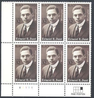 US 3058 MNH - PB of 6 with Plate Position LL B111 - Ernest E. Just