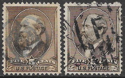 US 205 (x2) Used - Ulysses S. Grant - Yellow Brown & Gray Brown