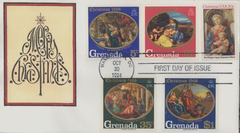 US 2107 FDC - DRC Cachet - Grenada Stamps 22 of 30 - Christmas