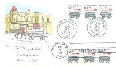 US 2130a FDC - Van Natta - Oil Wagon - Precancel