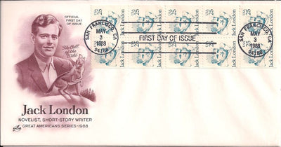 US 2182a FDC - ArtCraft - Jack London Booklet Pane