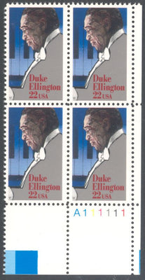 US 2211 MNH - Plate Block LR A111111 - Duke Ellington