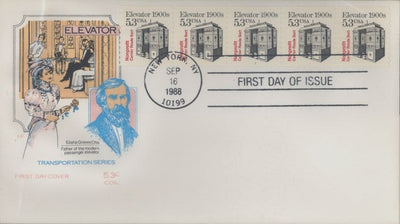 US 2254 FDC PNC 5 Plate 1 - House of Farnam - Elevator