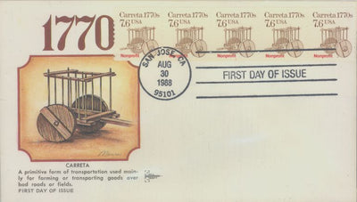 US 2255 FDC PNC 5 Plate 1 - Gill Craft - Carreta
