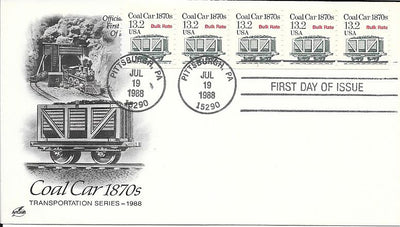 US 2259 FDC - PNC 5 Plate 1 - ArtCraft - Coal Car