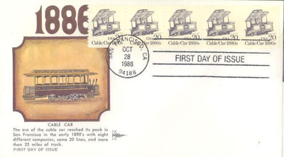 US 2263 PNC 5 FDC - Plate 1 - Gill Craft - Cable Car