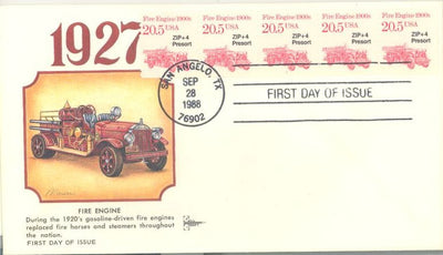 US 2264 FDC - PNC 5 Plate 1 - Gill Craft - Fire Engine