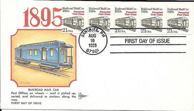 US 2265 FDC - PNC 5 Plate 1 - Gill Craft - Railroad Mail Car