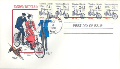 US 2266 FDC - PNC 5 Plate 1 - House of Farnam - Tandem Bicycle