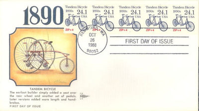US 2266 FDC - PNC 5 Plate 1 - Gill Craft - Tandem Bicycle