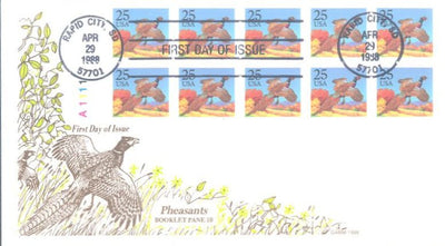 US 2285b FDC - ArtCraft - Owl/Grosbeak Booklet Pane with Tab