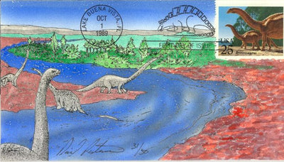 US 2425 FDC David Peterman 31 of 50 - Brontosaurus