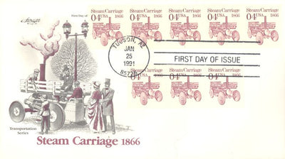 US 2451 FDC - PNC 5 Plate 1 - ArtMaster Cachet - Steam Carriage