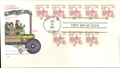 US 2451 FDC - PNC 5 Plate 1 - House of Farnam Cachet  - Steam Carriage