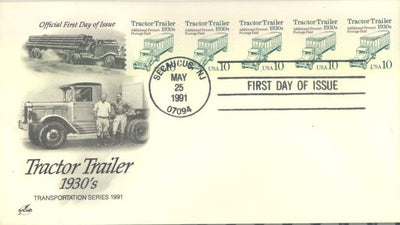 US 2457 FDC - PNC 5 Plate 1 - ArtCraft Cachet - Tractor Trailer