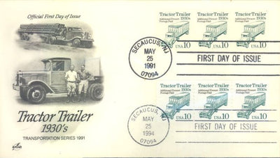 US 2457 & 2458 FDC - PNC 3 Plate 1 & 11 - ArtCraft Combo - Tractor Trailer