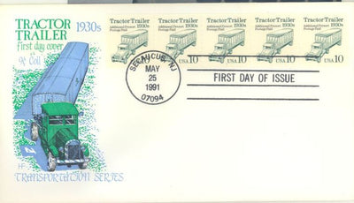 US 2457 FDC - PNC 5 Plate 1 - House of Farnam Cachet - Tractor Trailer