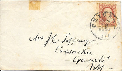 US 26 Cover - Chicago, IL to Coxsackie, NY - Stamp has Foxing