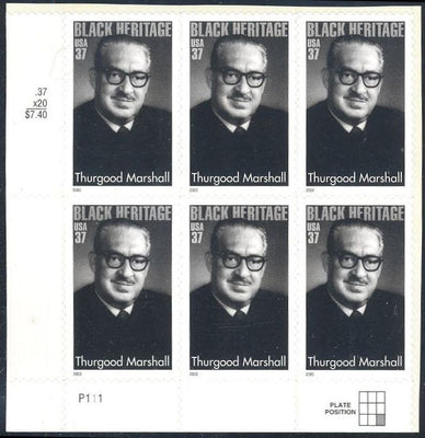 US 3746 MNH - PB of 6 with Plate Position LL P111  -Thurgood Marshall