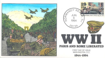 US 2838f - Collins Cachet - 1994 WWII Paris/Rome Liberation