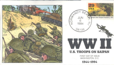 US 2838g - Collins Cachet - 1994 WWII Troops on Saipan