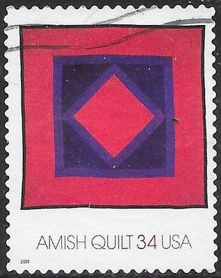 US 3524 Used - American Treasures Series - Amish Quilts - Diamond in Square