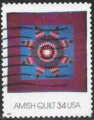 US 3525 Used - American Treasures Series - Amish Quilts - Lone Star