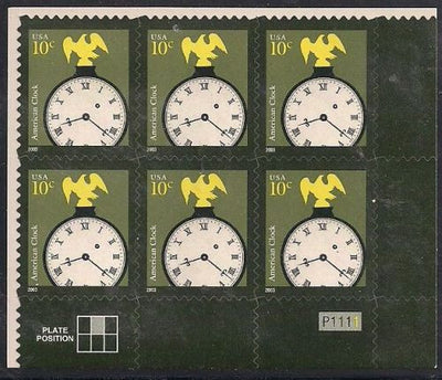 US 3757 MNH - PB of 6 with Plate Position LR P1111 - Clock