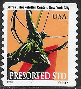 US 3770 Used - PNC Plate V12111 - Atlas Statue