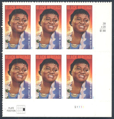US 3996 MNH - Plate Block of 6 with Plate Position LR S1111 - Hattie McDaniel