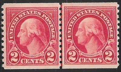 US 599 Unused/Hinged - Pair - George Washington