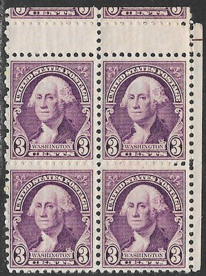 US 720 MNH Block of 4 - Washington - Horizontal Gutter Snipe