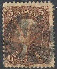 US 76 Used - Short Perf - Fancy Cancel - Thomas Jefferson