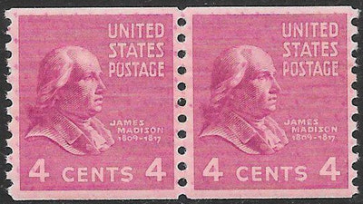 US 843 MNH - Joint Line Pair - James Madison