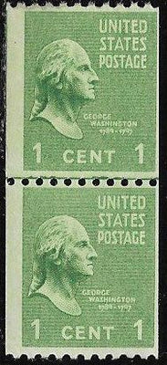 US 848 Unused/Hinged - Joint Line Coil Pair - George Washington
