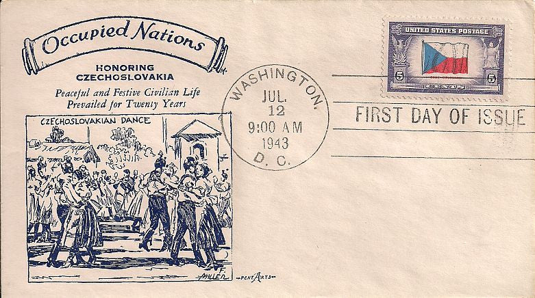 US 910 FDC - Pent Arts - Occupied Nations - Czechoslovakia