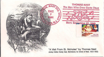 US Event Cover - Christmas - Thomas Nast Station 1991