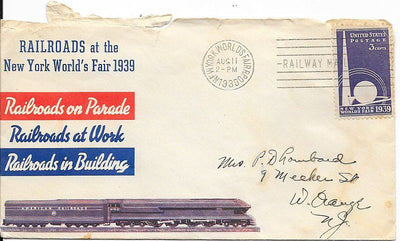 US 853 - Event Cover - Railroads at the New York World's Fair 1939 - Enclosure